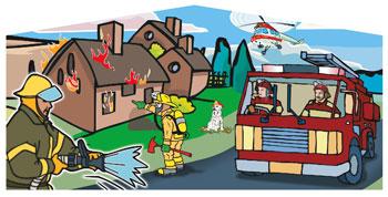 Firemen Cartoon Panel